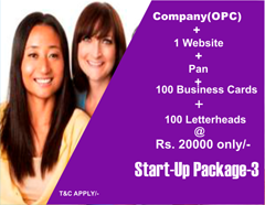 Special Start-up package for new & small entrepreneurs and business men | OPC Company registration at Rs. 15999  only/-