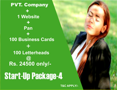 Special start-up package for new business man and entrepreneurs | get private company, one website, pan, 100 visiting cards, and 100 letterheads at just Rs. 24499/- only.